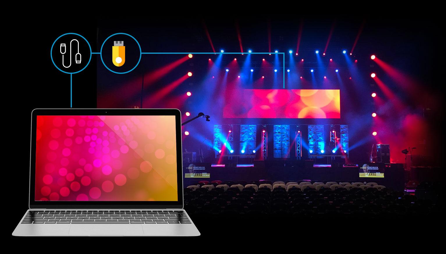 Conexión de pantallas LED rental